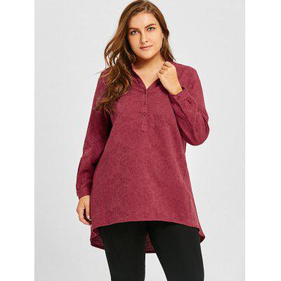 Plus Size Floral Jacquard High Low BlousePlus Size Tops<br>Plus Size Floral Jacquard High Low Blouse<br><br>Collar: V-Neck<br>Material: Polyester<br>Package Contents: 1 x Blouse<br>Pattern Type: Solid<br>Season: Spring, Fall<br>Shirt Length: Long<br>Sleeve Length: Full<br>Style: Casual<br>Weight: 0.4300kg