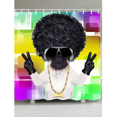Cool Dog With Afro Curly Hair Pattern Bath Curtain