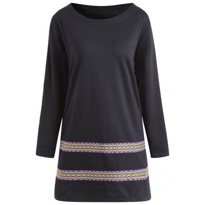 Buy BLACK 3XL Plus Size Tribal Printed Panel Tunic Dress for $29.97 in GearBest store
