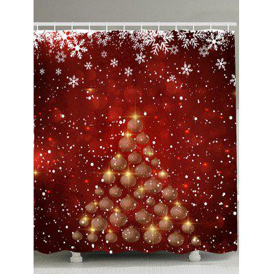 Snowflakes Balls Christmas Tree Pattern Shower Curtain