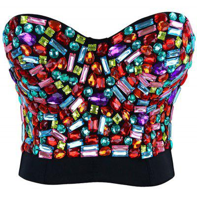 Colorful Rhinestoned Bustier BraLingerie &amp; Shapewear<br>Colorful Rhinestoned Bustier Bra<br><br>Bra Style: Push Up<br>Closure Style: Back Closure<br>Cup Shape: 5/8 Cup<br>Embellishment: Rhinestone<br>Materials: Nylon, Spandex<br>Package Contents: 1 x Bra<br>Pattern Type: Others<br>Strap Type: Adjusted-straps<br>Style: Sexy<br>Support Type: Underwire<br>Weight: 0.4000kg