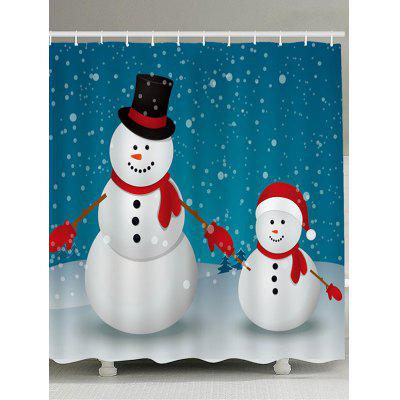 Two Christmas Snowmen Pattern Bath Curtain
