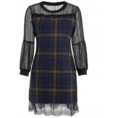 Buy PURPLISH BLUE Wool Blend Lace Panel Plaid Dress for $23.90 in GearBest store