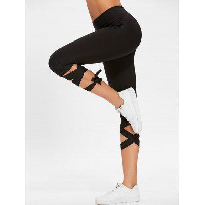 Buy BLACK L High Waisted Lace Up Gym Pants for $18.77 in GearBest store