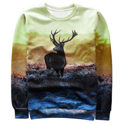 Sweat-shirt Ras du Cou Imprimé Antilope