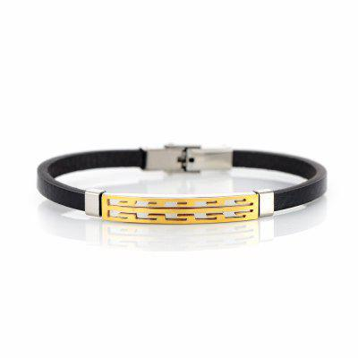 Stainless Steel Faux Leather Hollow Out BraceletMens Jewelry<br>Stainless Steel Faux Leather Hollow Out Bracelet<br><br>Chain Type: Leather Chain<br>Gender: For Men<br>Length: 21.3CM<br>Package Contents: 1 x Bracelet<br>Shape/Pattern: Geometric<br>Style: Trendy<br>Weight: 0.0300kg