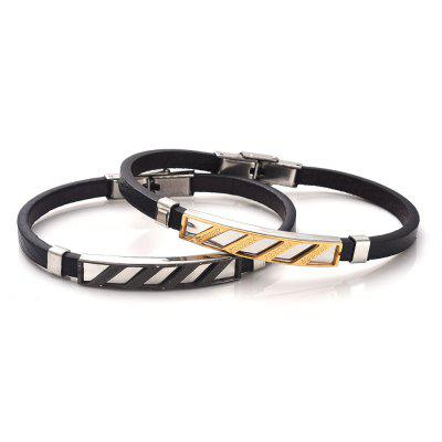 Faux Leather Stainless Steel Engraved Fret BraceletMens Jewelry<br>Faux Leather Stainless Steel Engraved Fret Bracelet<br><br>Chain Type: Leather Chain<br>Gender: For Men<br>Length: 21.3CM<br>Package Contents: 1 x Bracelet<br>Shape/Pattern: Geometric<br>Style: Trendy<br>Weight: 0.0300kg