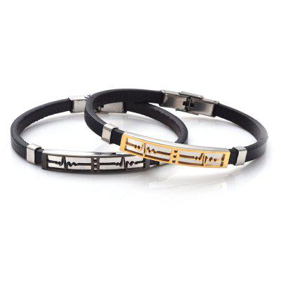 Faux Leather Stainless Steel Electrocardiogram BraceletMens Jewelry<br>Faux Leather Stainless Steel Electrocardiogram Bracelet<br><br>Chain Type: Leather Chain<br>Gender: For Men<br>Length: 21.3CM<br>Package Contents: 1 x Bracelet<br>Shape/Pattern: Geometric<br>Style: Trendy<br>Weight: 0.0300kg