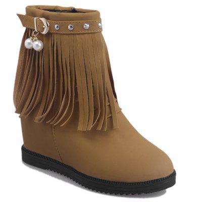 Fringe Faux Pearl Studs Height Increase Boots