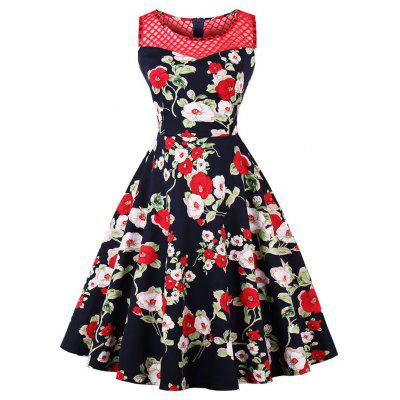 Vintage Mesh Insert Floral Print Fit and Flare Dress