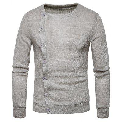 Knitted Oblique Button Up Cardigan
