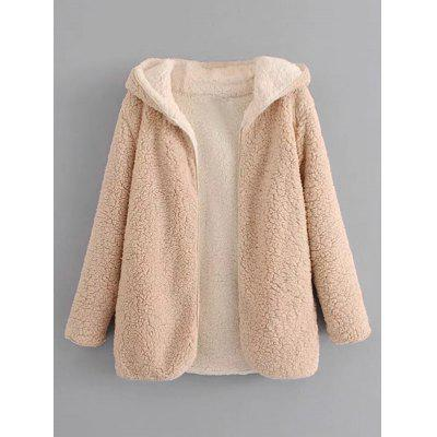 Open Front Hooded Lamb Wool Coat