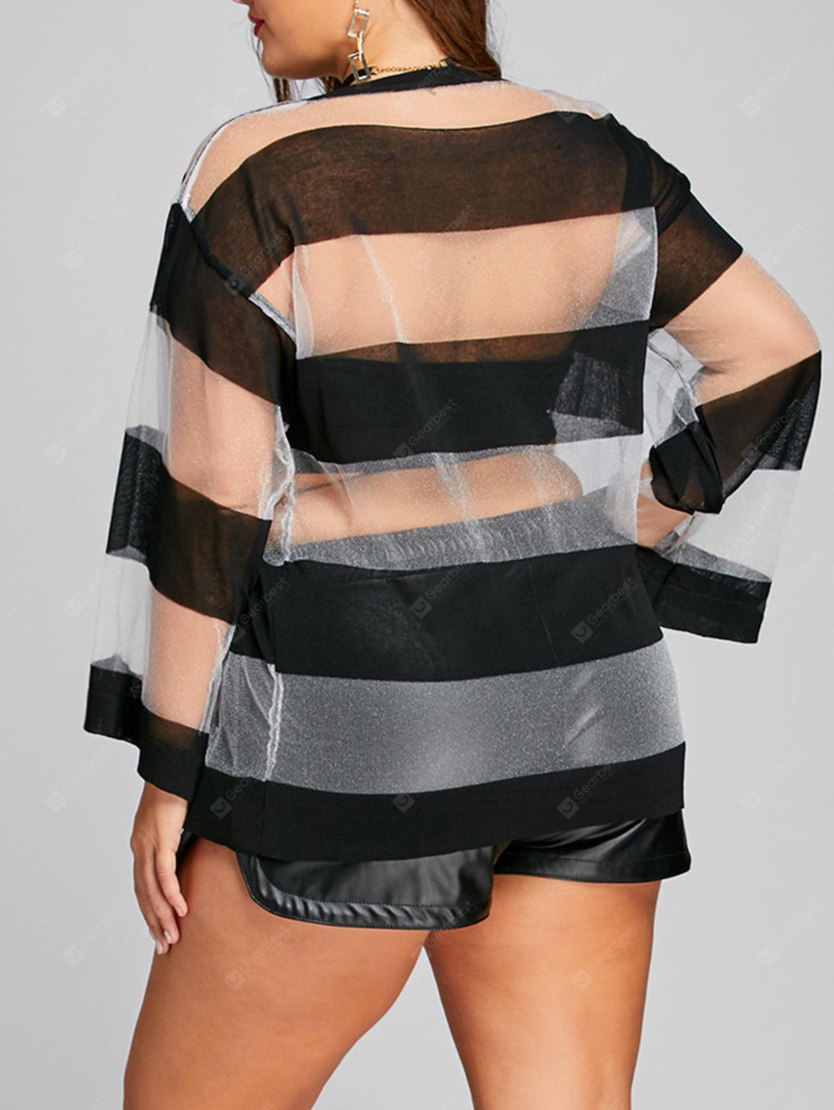 Striped See Thru Plus Size Sweater