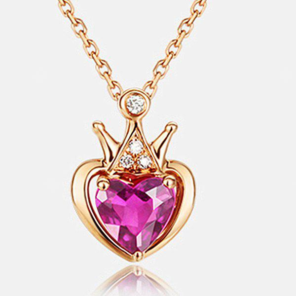 Rhinestone Crown Heart Collarbone Pendant Necklace