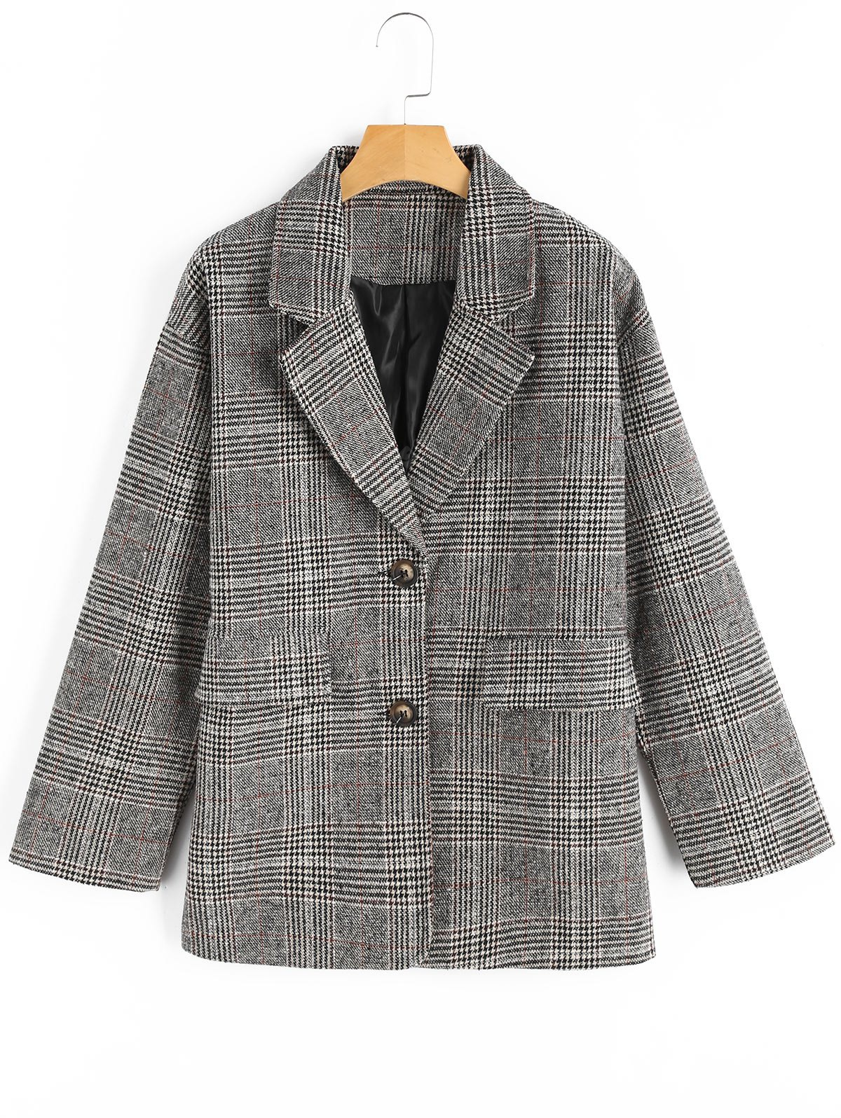 Houndstooth Lapel Tweed Coat