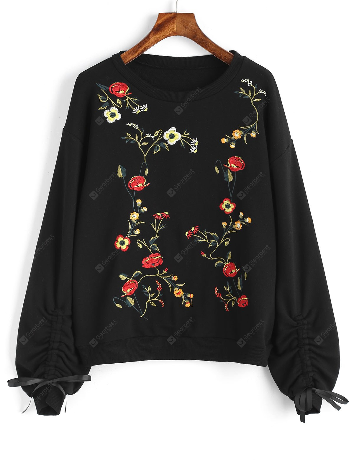 Floral Embroidered Cinched Sleeve Sweatshirt, BLACK, S, Apparel, Women's Clothing, Sweatshirts & Hoodies