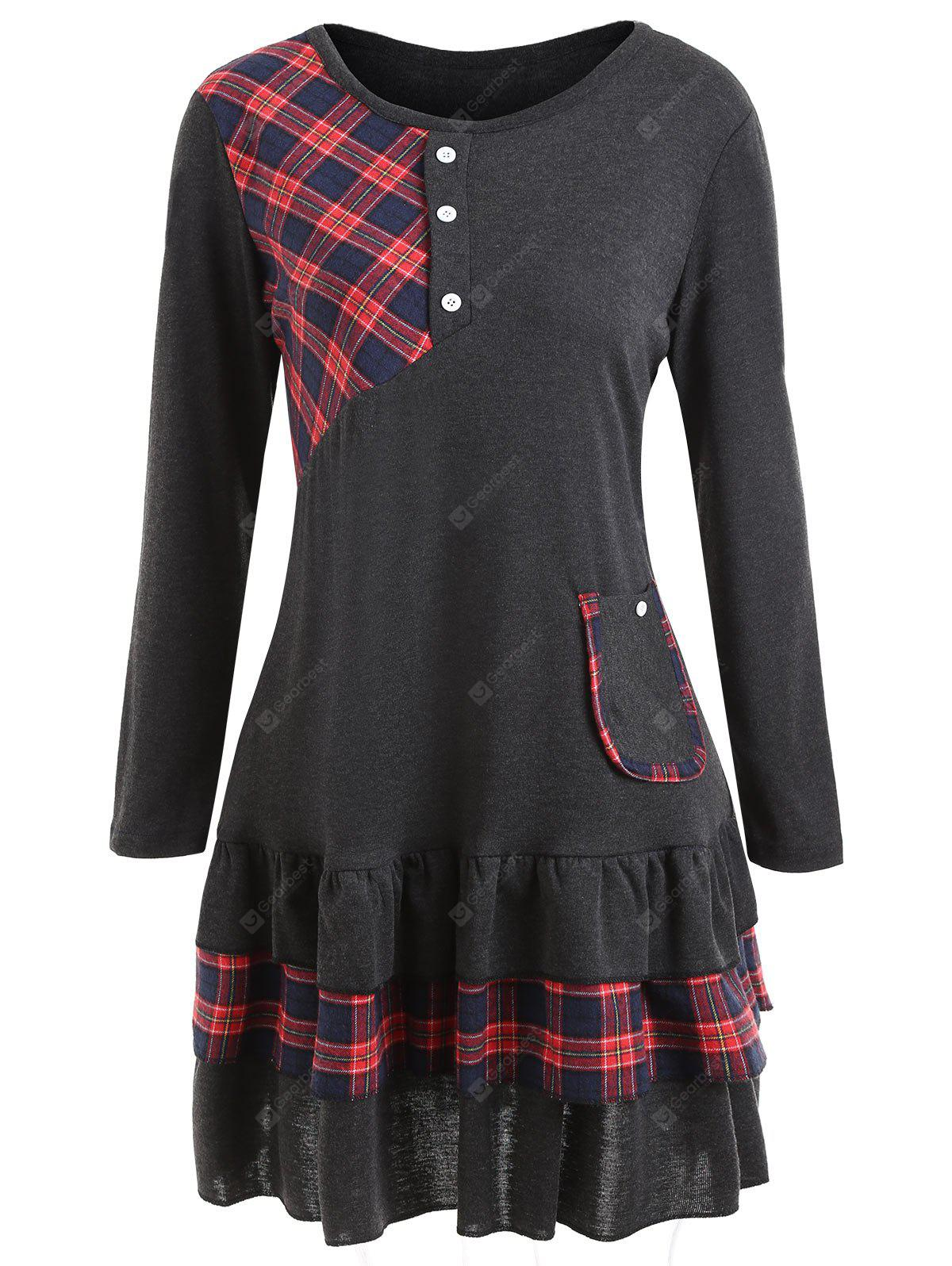 Plus Size Tartan Panel Flounce Tunic Top