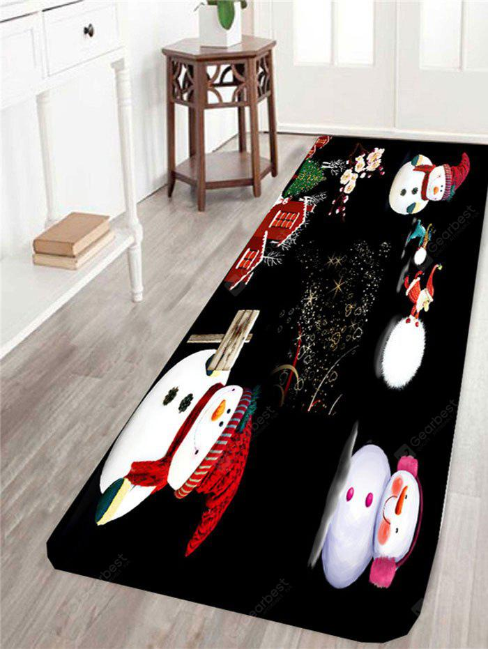 Happy Christmas Snowman Family Pattern Skidproof Rug