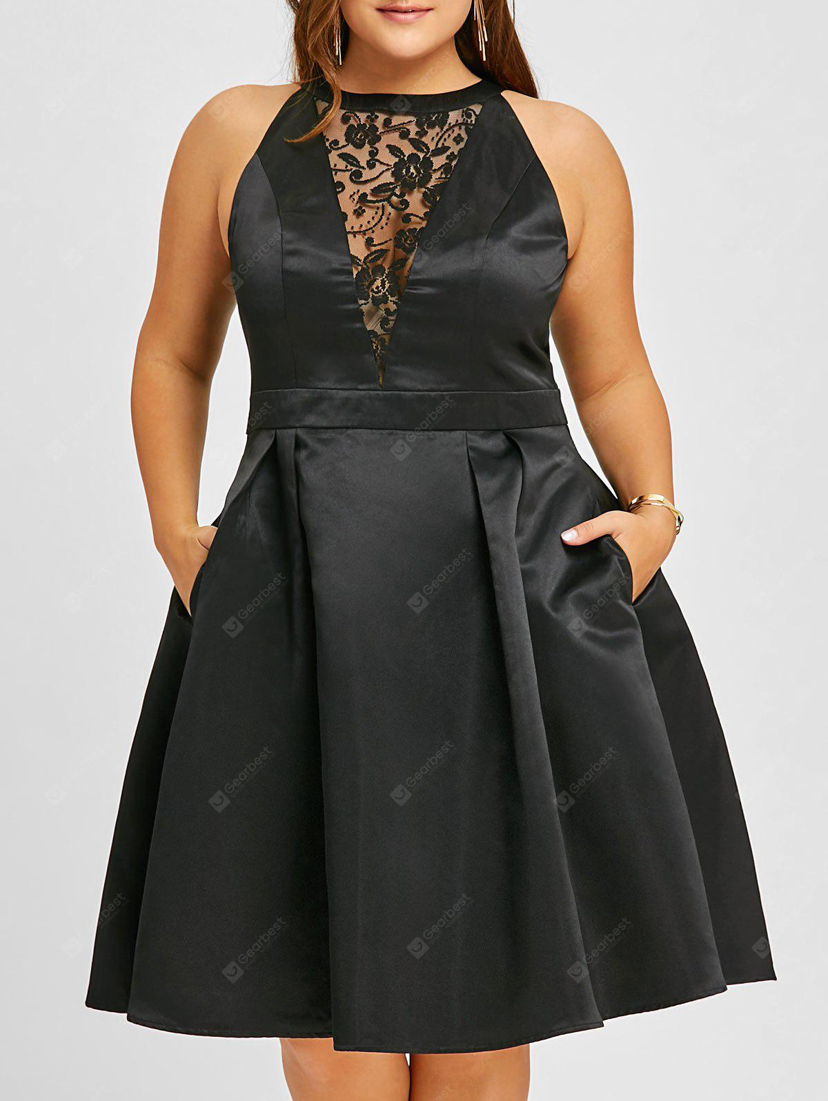 Plus Size Lace Insert Sleeveless Swing Dress