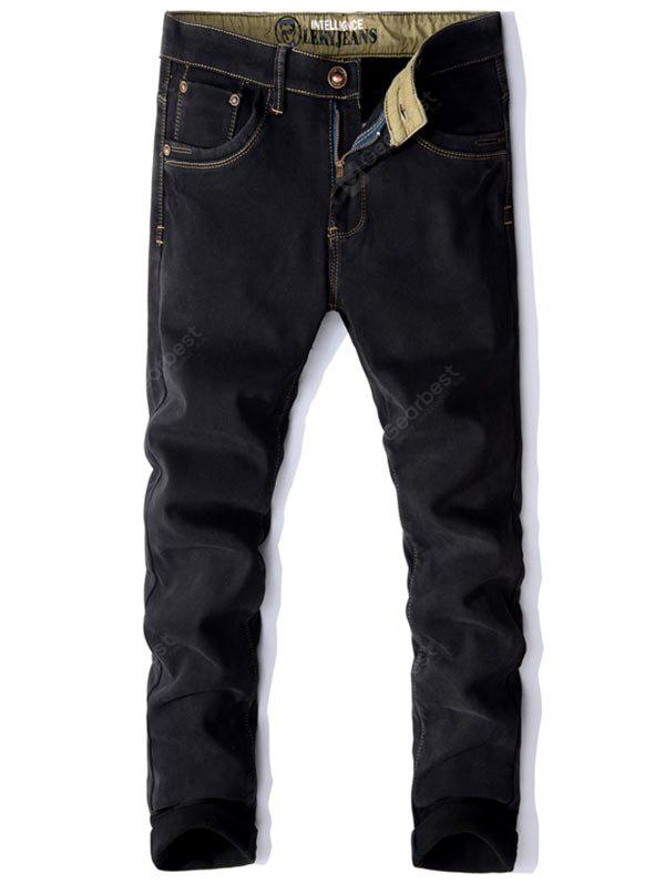 Embroidery Pocket Zip Fly Flocking Jeans