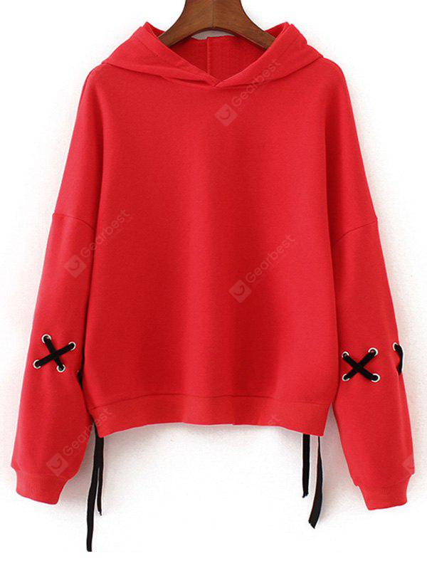 Criss Cross Contrasting Oversized Hoodie