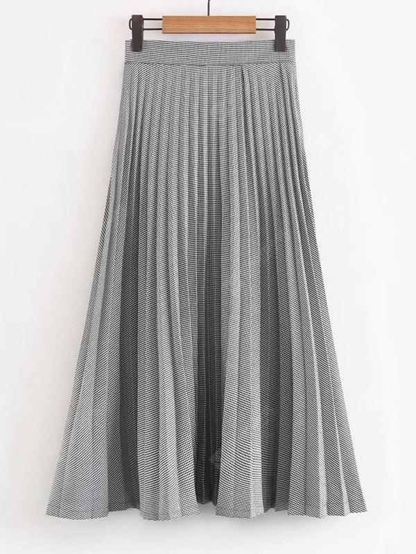 Houndstooth Pleated Maxi Skirt