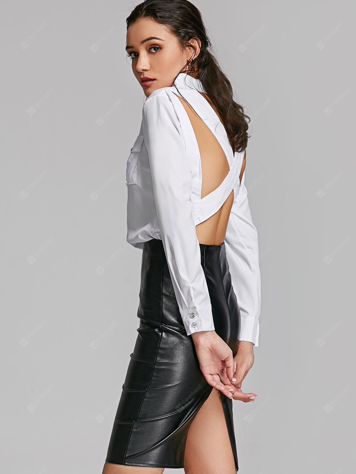 Criss Cross Open Back Shirt with Pockets