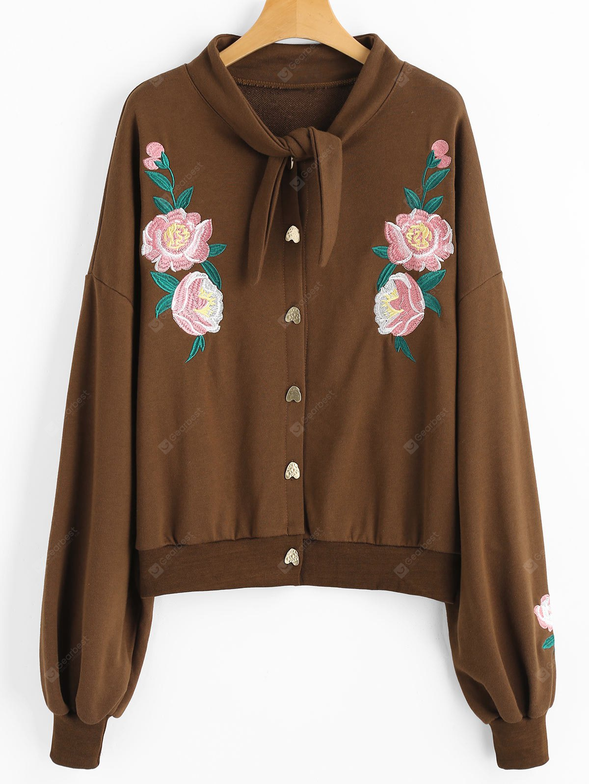 Button Up Floral Patched Sweatshirt
