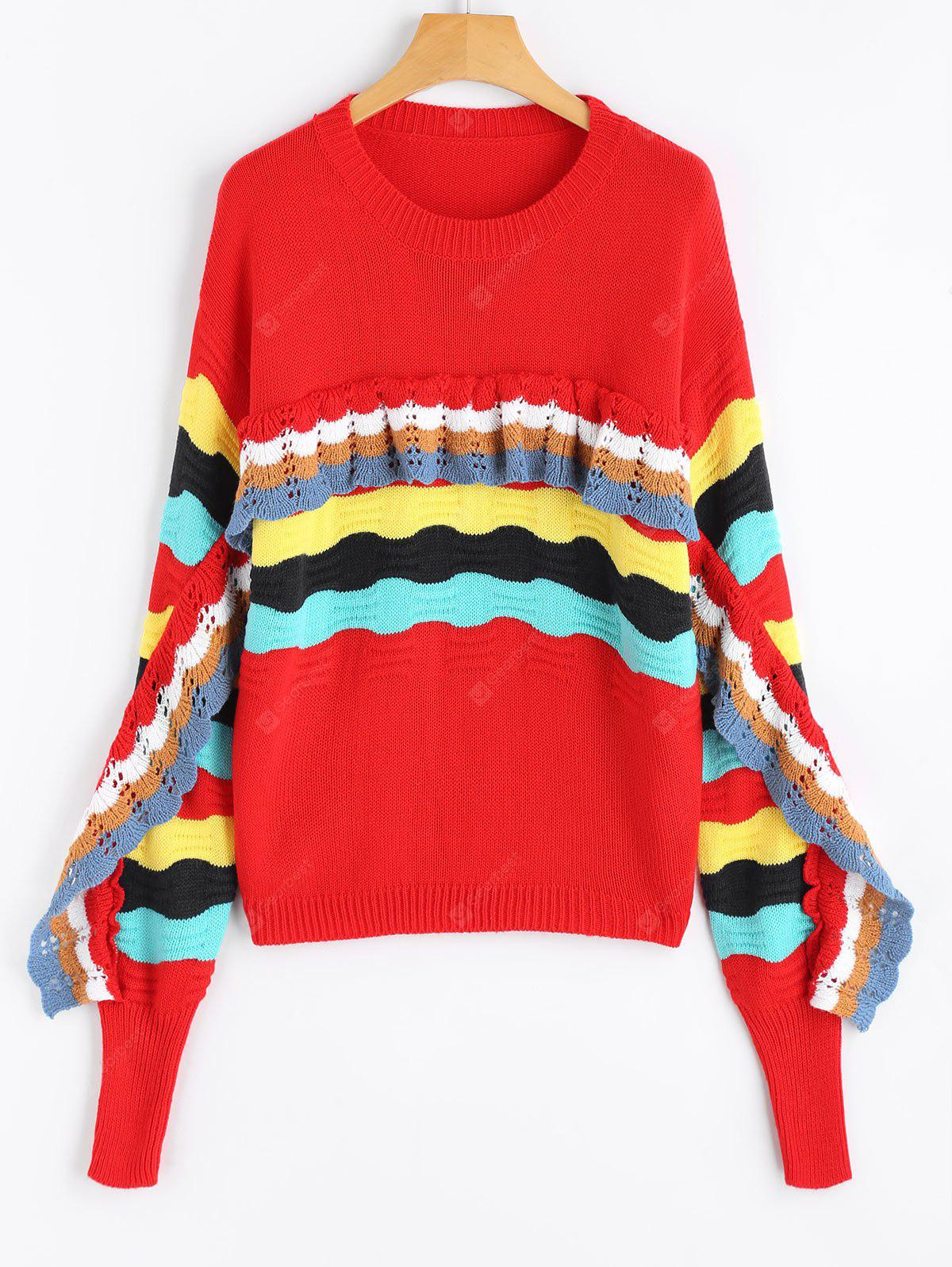 Crew Neck Frilled Color Block Sweater, RED, Apparel, Women's Clothing, Sweaters & Cardigans