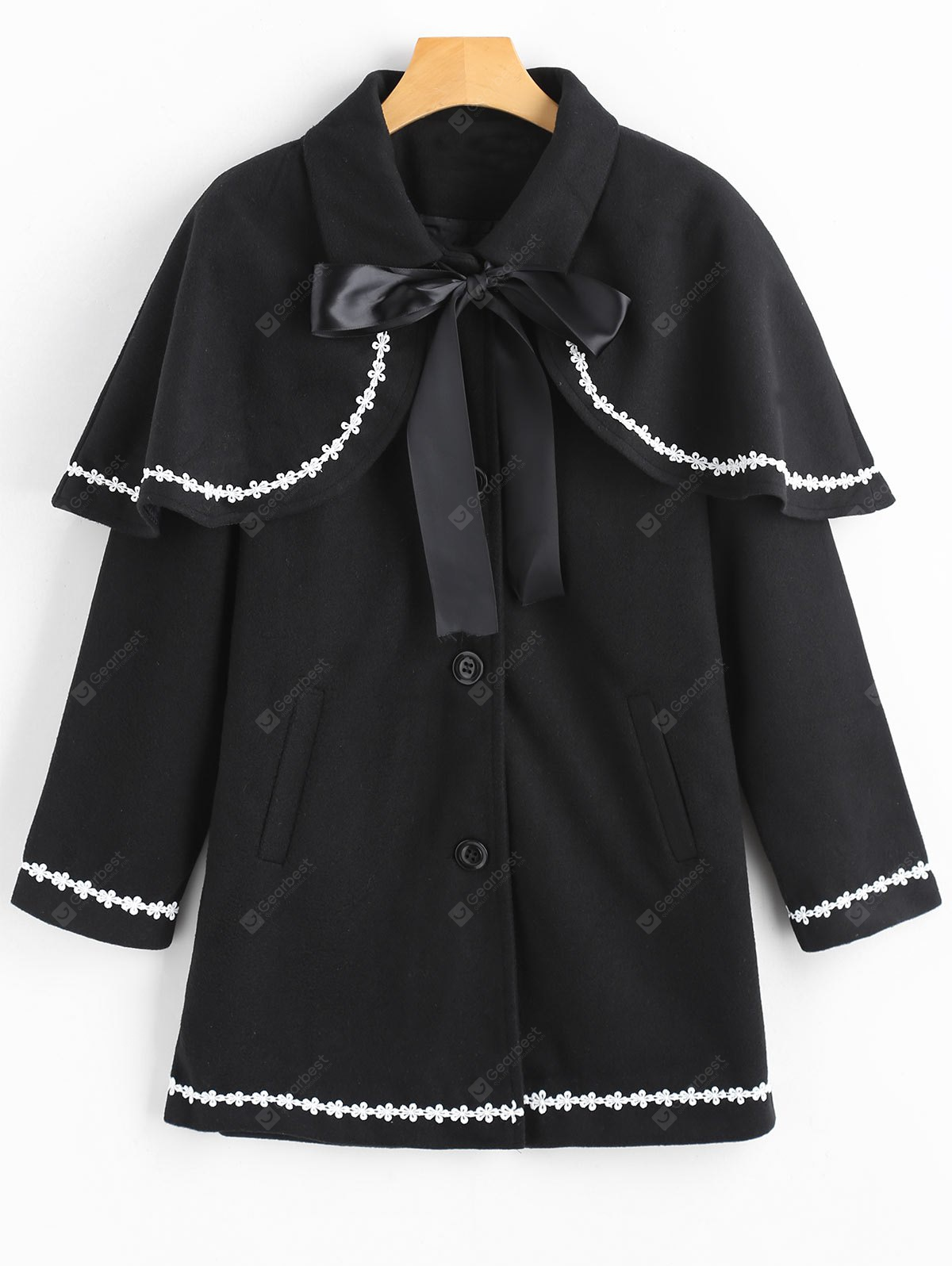 Flower Trim Coat with Removable Capelet