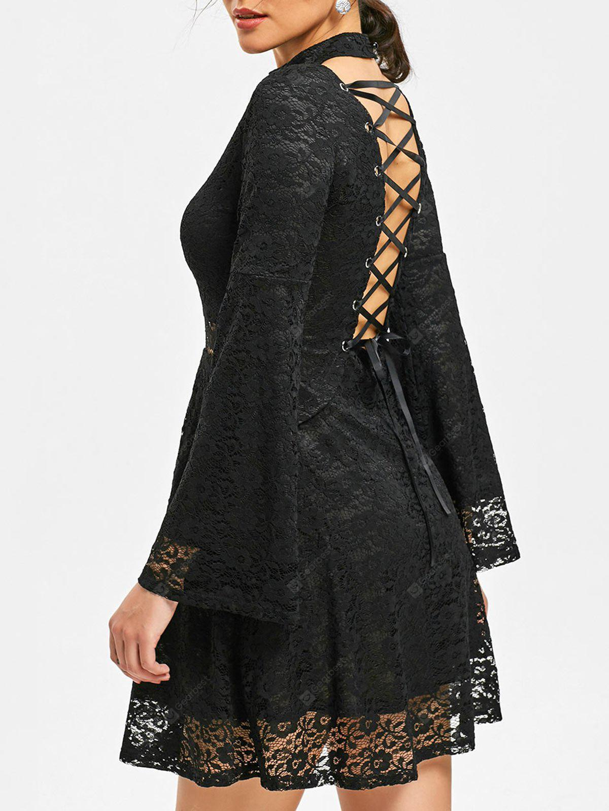 Mock Neck Back Tie-up Lace Dress