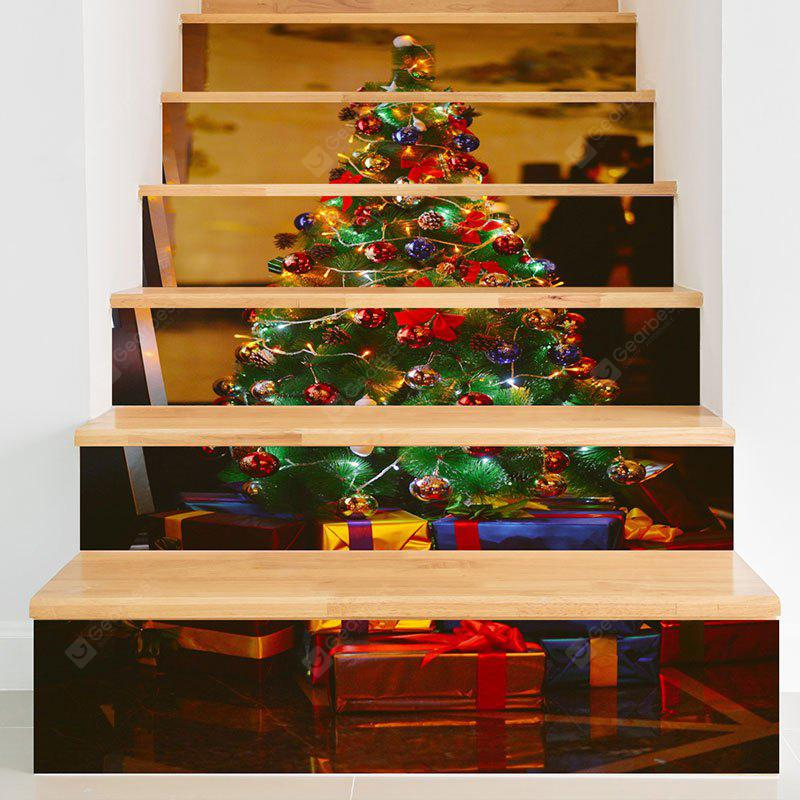 Christmas Tree Gifts Pattern Decorative Stair Decals