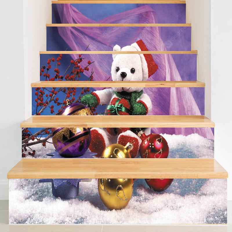 Christmas Bear Baubles Pattern Decorative Stair Decals