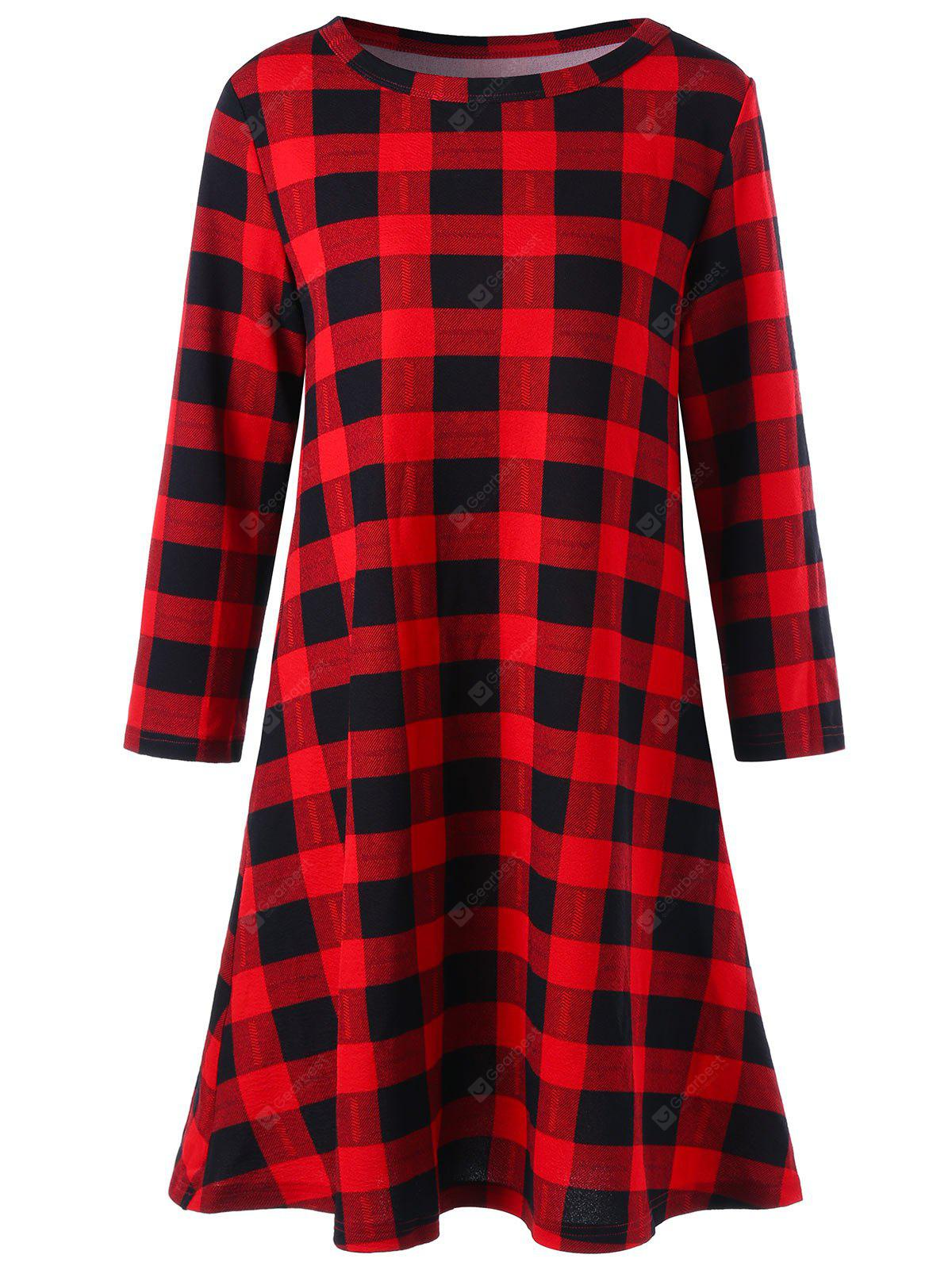 Christmas Plaid Mini Swing Dress