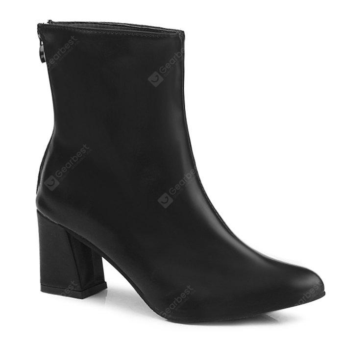 Pointed Toe Mid Heel Short Boots