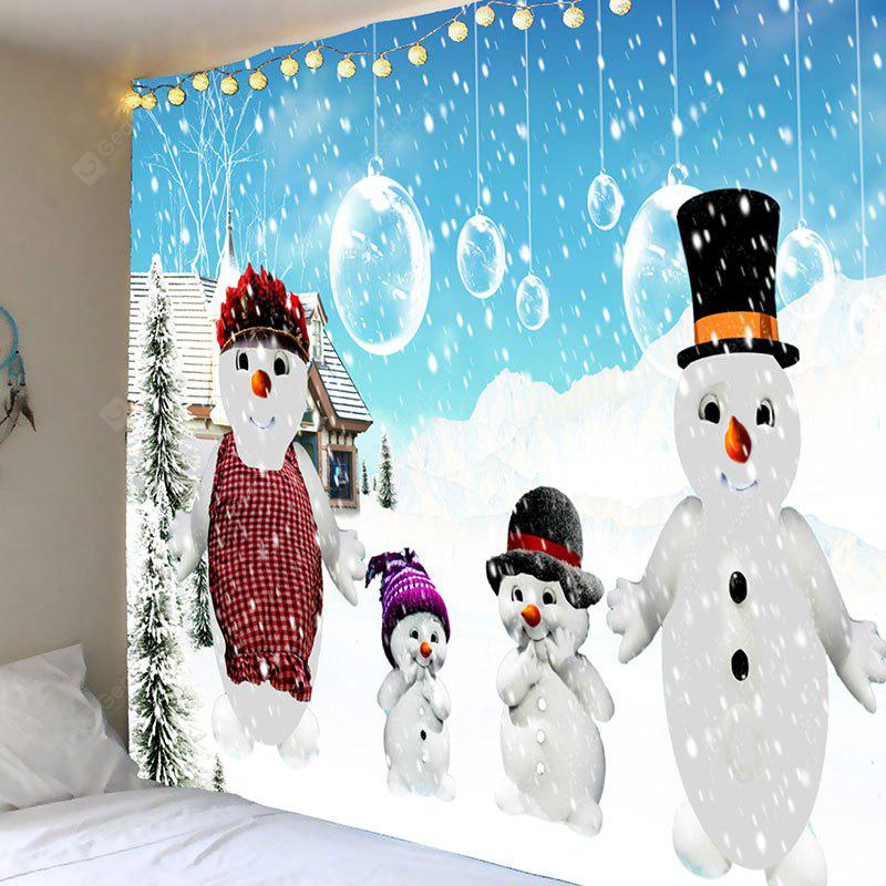 Snowy Christmas Snowmen Family Printed Tapestry