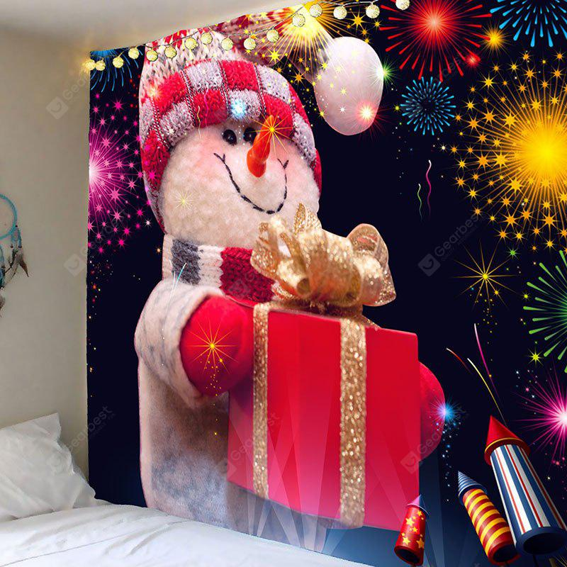 Fireworks Christmas Snowman Printed Wall Art Tapestry