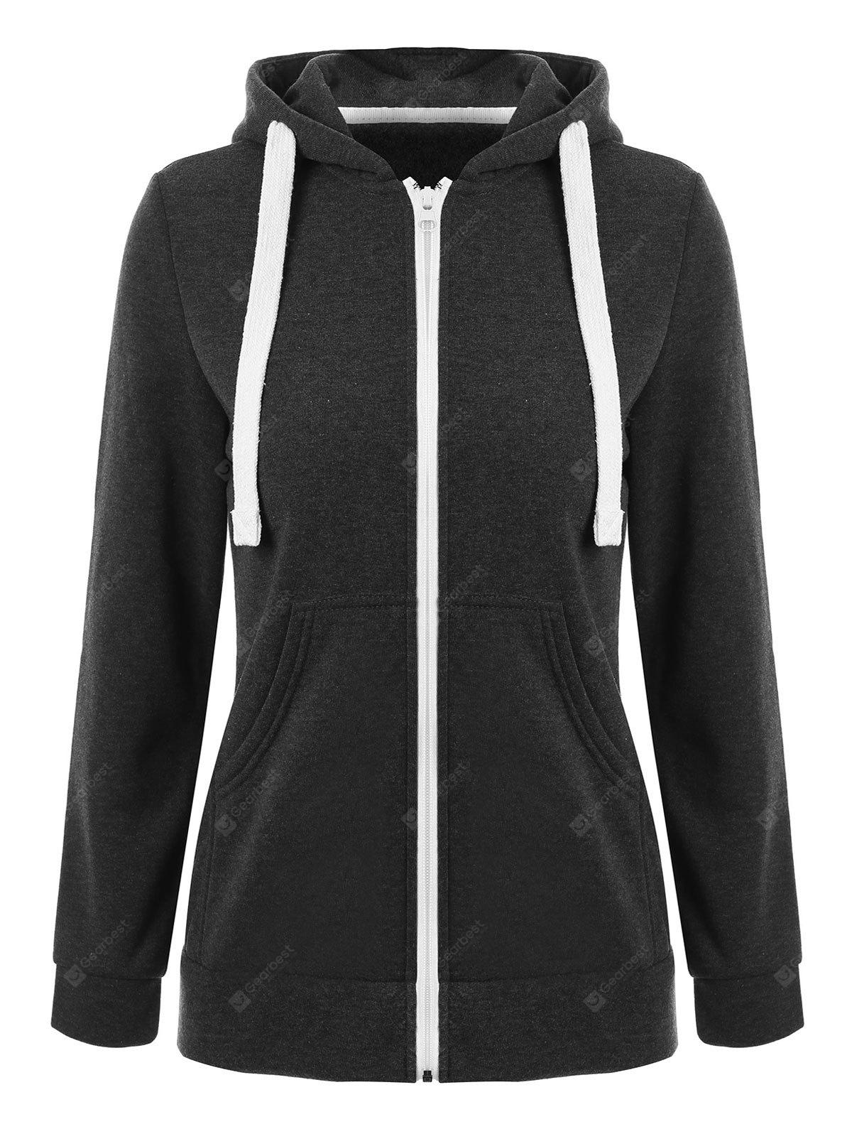 Drawstring Front Pocket Zip Up Hoodie