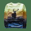 Sweat-shirt Ras du Cou Imprimé Antilope - MULTICOLORE