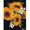Sunflower Print Vintage Sleeveless Dress - BLACK