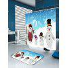 Snowy Christmas Snowmen Family Pattern Bath Curtain - BLUE AND WHITE
