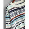 Tribal High Low Pullover Sweater - WHITE
