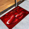 Christmas Hearts Pattern Water Absorption Area Rug - RED