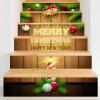 Christmas Woodgrain Pattern Decorative Stair Decals - COLORFUL
