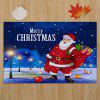 Santa Claus Pattern Nonslip Coral Fleece Christmas Bath Mat - BLUE