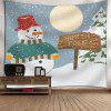 Waterproof Christmas Snowfield Snowman Printed Wall Art Tapestry - COLORFUL
