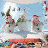 Christmas Snowman Family Pattern Wall Art Tapestry - BLUE AND WHITE
