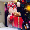 Fireworks Christmas Snowman Printed Wall Art Tapestry - COLORFUL