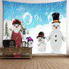 Snowy Christmas Snowmen Family Printed Tapestry - BLUE AND WHITE