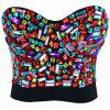 Colorful Rhinestoned Bustier Bra - COLORMIX